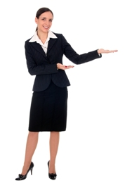 woman pointing left - guarantee